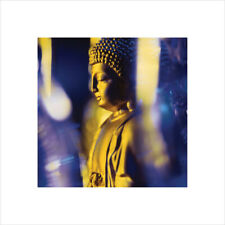 Blue Buddha Gold Statue Temple Thick Cardstock Poster 15.75x15.75