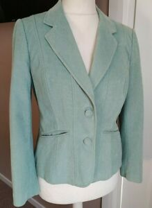 Gorgeous Per Una Jacket Needle Cord Pockets Size 14 Fitted Teal Blue 100% Cotton