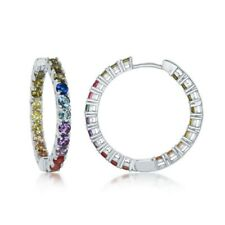 Sterling Silver In-and-Out Rainbow CZ Hoop Earrings