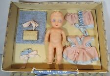 "VINTAGE 1950s BOXED 6"" VINYL ROSEBUD? DOLL IN ORIGINAL FITTED DOLLERIES BOX"