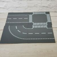 Lego City Road Plate Bundle. 1 Straight, 1 Crossroad, 1 T-junction, 1 Curve Grey