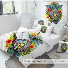 Bedding Set Bohemian Duvet Cover Floral Colorful Bedclothes 3pcs Tortoise Queen