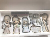 Enesco Precious Moments The Nativity 9 Piece Set 1986 with Booklet and Cassette