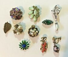 Vintage Jewelry Single NICE Rhinestone Clip Earrings and other items
