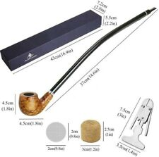 More details for vintage wooden smoking pipes 16'' long handle gandalf tobacco pipe in gift box