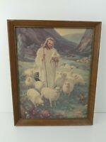 "Vtg The Lord is My Shepherd Litho 12 x 15"" Wood Framed Jesus  Warner Sallman"