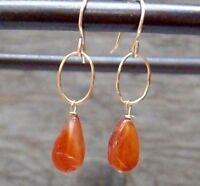 Carnelian Gems on Gold Wire Wrapped 14k GF  Earrings