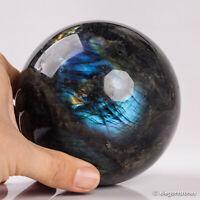 1704g 105mm Large Natural Labradorite Quartz Crystal Sphere Healing Ball Chakra