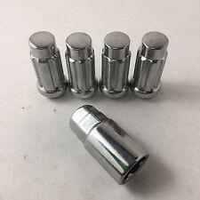 Set 4 14mm x 1.5 Wheel Locks Locking Lug Nuts Chrome w Key Ford Chevy/GMC/Caddy