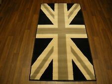 TOP QUALITY NOVELTY 80X150CM APPROX 5X3FT WOVEN RUG/MAT UNION JACK DESIGN BLACK