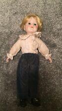 """Antico Vintage Boy Testa di bambola BISQUE mani piedi corpo di Stoffa e Abiti 16"""" 40 cm"""
