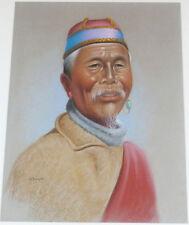 1955 Rare DOUGLAS GORAY - Tibetan Elder - ORIGINAL PASTEL PAINTING - Hill People