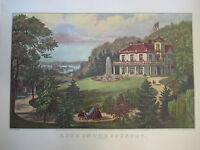 Vintage Currier & Ives America Color Print, Life In The Country Evening