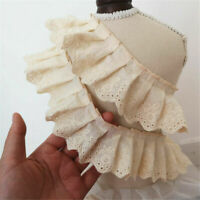 Vintage Cotton Pleated Lace Ruffle Trim Ribbon DIY Fabric Sewing Accessories 1m