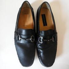 Giorgio Brutini Black Leather Driving Moc Loafer Shoe Buckle Detail sz 8