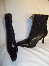 STUART WEITZMAN Black Fabric & Leather Seam Detail Snip Toe Ankle Boots 6.5M