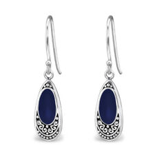 Navy Ethnic Oval Sterling Silver Small Drop Earrings