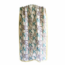 ANNE KLEIN New York pure silk NY words printed women men long scarves P702372