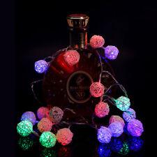 20 LED Rattan Ball String Lights Home Garden Fairy Lamp Wedding Party Decor XJ
