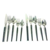 Lot of 10 VTG Stainless Dinner Forks Spoons Knives Scroll Design Made in Japan