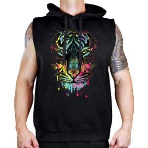 Men's Neon Dripping Tiger Black Sleeveless Vest Hoodie Animal Beast Rave Party