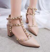 Womens Patent Leather Rivets Studs Hollow Shoes High Heel Block Pointed Toe Pump
