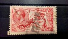 High Value GB Stamps 5 Shillings 1913 Or 1915 Seahorse SG # 401 Or SG # 409 Pos…