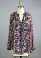 TOLANI Silk Geometric Print Tunic Blouse Size Small