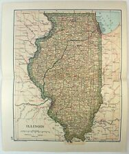 Original 1893 Map of Illinois by Dodd Mead & Company