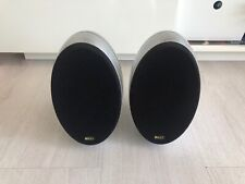 2 X KEF KHT3001 HTS3001 GLOSSY SILVER SURROUND SOUND LOUDSPEAKERS
