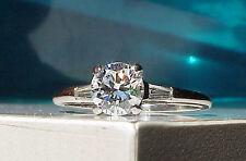 GORGEOUS GIA cert D VVS 1.13ttcw VINTAGE  1940s PLATINUM ENGAGEMENT WEDDING RING