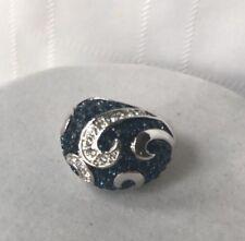Lia Sophia Calypso Ring Size 5 Dark blue Clear Cz Pave Accents Silver Tone Swirl