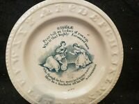 RARE ANTIQUE STAFFORDSHIRE RIDDLE A CLERGYMAN TRANSFERWARE ABC CHILD'S PLATE