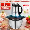 3L 600W Electric Meat Grinder Food Processor Chopper Blender Slicer 3 Gears