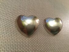 Heart Shaped Earrings Large Vintage Sterling Silver Signed Sc