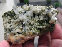 EPIDOTE GREEN CRYSTALS and CLEAR QUARTZS on MATRIX from PERÚ.....BEAUTIFUL PIECE