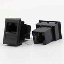 Black straight in CAT5E network socket Module, Double head CAT5E RJ45 Module