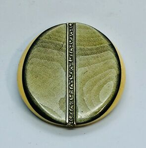 XL Marbleized 3 Layered Laminated Celluloid Button, Inserted Fancy Metal OME!