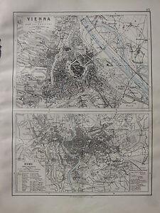 1900 VICTORIAN MAP ~ VIENNA WIEN CITY PLAN ~ ROME & ENVIRONS ANCIENT