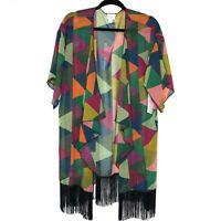 LuLaRoe Monroe Kimono Size Large Colorful Geometric Print Black Fringe NEW