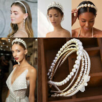 Women Elegant Big Pearl Headband Girls Crystal Hairband Hair Hoop Accessories SO