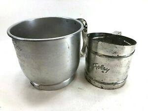 Pair 2 FOLEY Flour Sifters Metal Manual Hand Lever Pull Handle 5 cup 3 cup