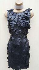 Size 10 UK  KAREN MILLEN  Black 3D Faux Leather Palette Cocktail Shift Dress