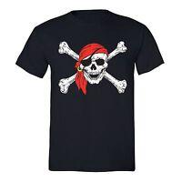 Men's Jolly Roger Skull & Crossbones Pirate Flag Navy Military T-Shirt S-5X
