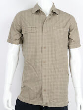Bench -Small - $62 Men's Khaki Checkered Cool Button Up Short Sleeve T-Shirt NWT
