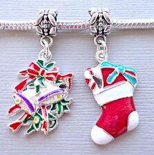 2 pcs Enamel Pendants CHRISTMAS for European Charm Bracelet and Necklace C124