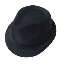14b52813cabe6 Mens Black 100% Cotton Trilby Gangster Hat 5 Sizes Sent Boxed