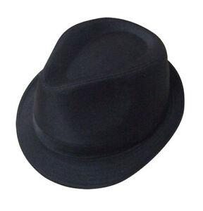 Mens Black Trilby Gangster Hat 5 Sizes Sent Boxed