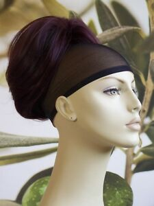 "DARK BURGUNDY RED / PLUM "" BEEHIVE "" BUN HAIR PIECE EXTENSION #99J"