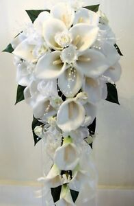 WEDDING BOUQUET SET, REAL TOUCH CALA LILY PEARLS IVORY